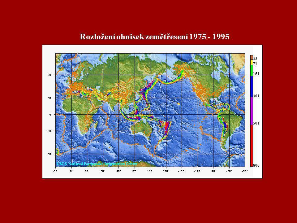 33 71 151 301 501 800 Rozložení ohnisek zemětřesení 1975 - 1995