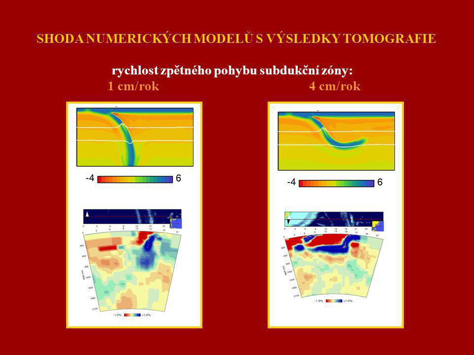 SHODA NUMERICKÝCH MODELŮ S VÝSLEDKY TOMOGRAFIE rychlost zpětného pohybu subdukční zóny: 1 cm/rok 4 cm/rok