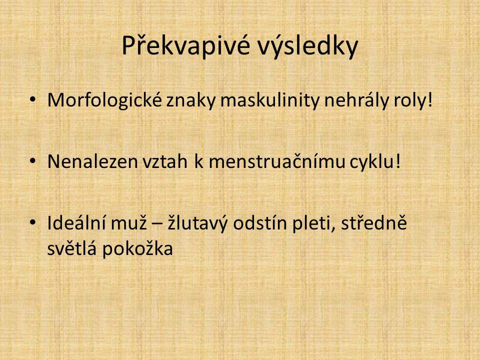 Překvapivé výsledky Morfologické znaky maskulinity nehrály roly! Nenalezen vztah k menstruačnímu cyklu! Ideální muž – žlutavý odstín pleti, středně sv