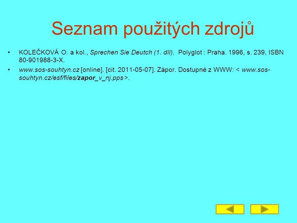 Seznam použitých zdrojů KOLEČKOVÁ O. a kol., Sprechen Sie Deutch (1.