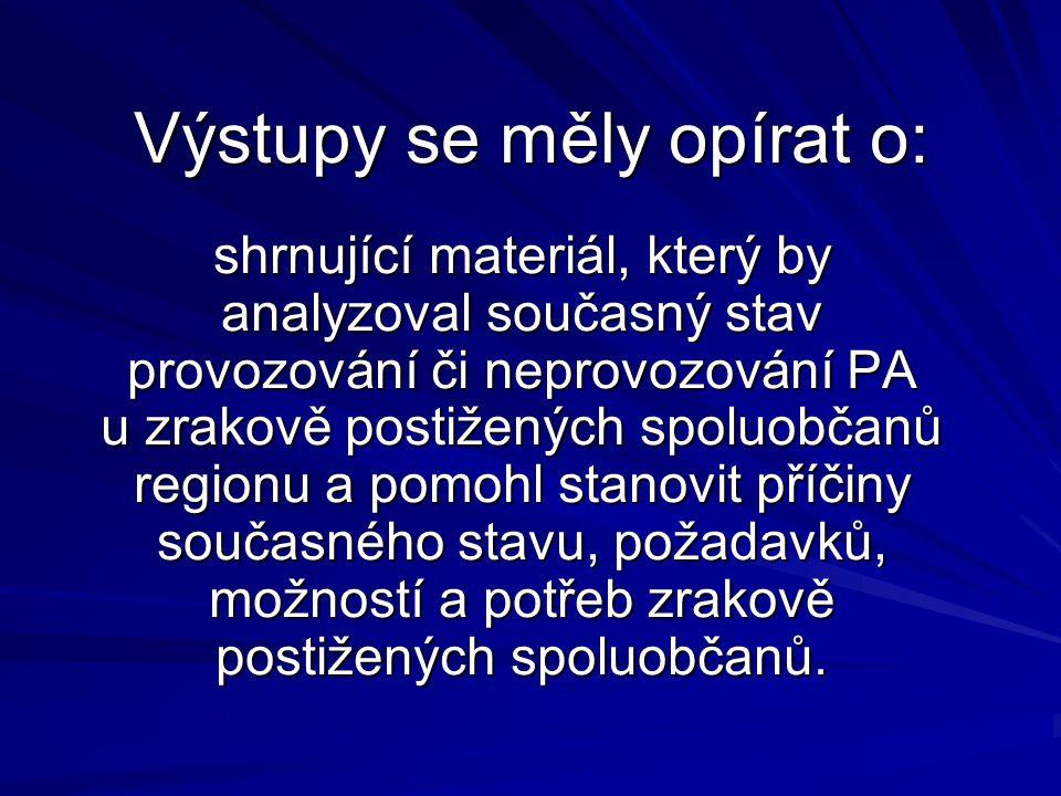 Úkoly projektu Analýza stavu provozování či neprovozování PA u ZP spoluobčanů regionu.