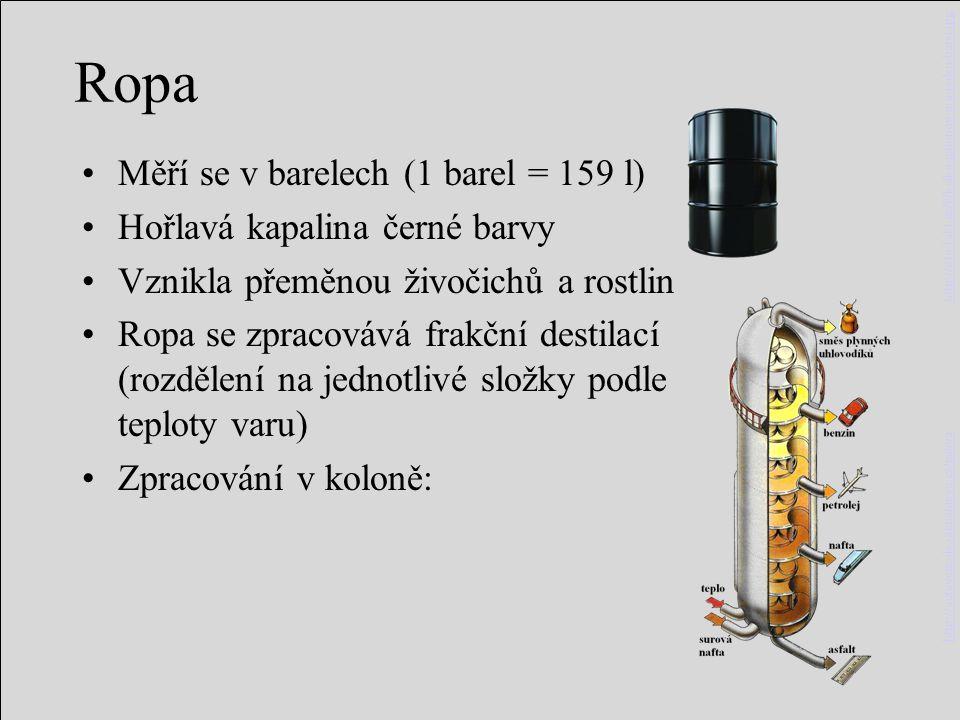 Ropa Měří se v barelech (1 barel = 159 l) Hořlavá kapalina černé barvy Vznikla přeměnou živočichů a rostlin Ropa se zpracovává frakční destilací (rozd