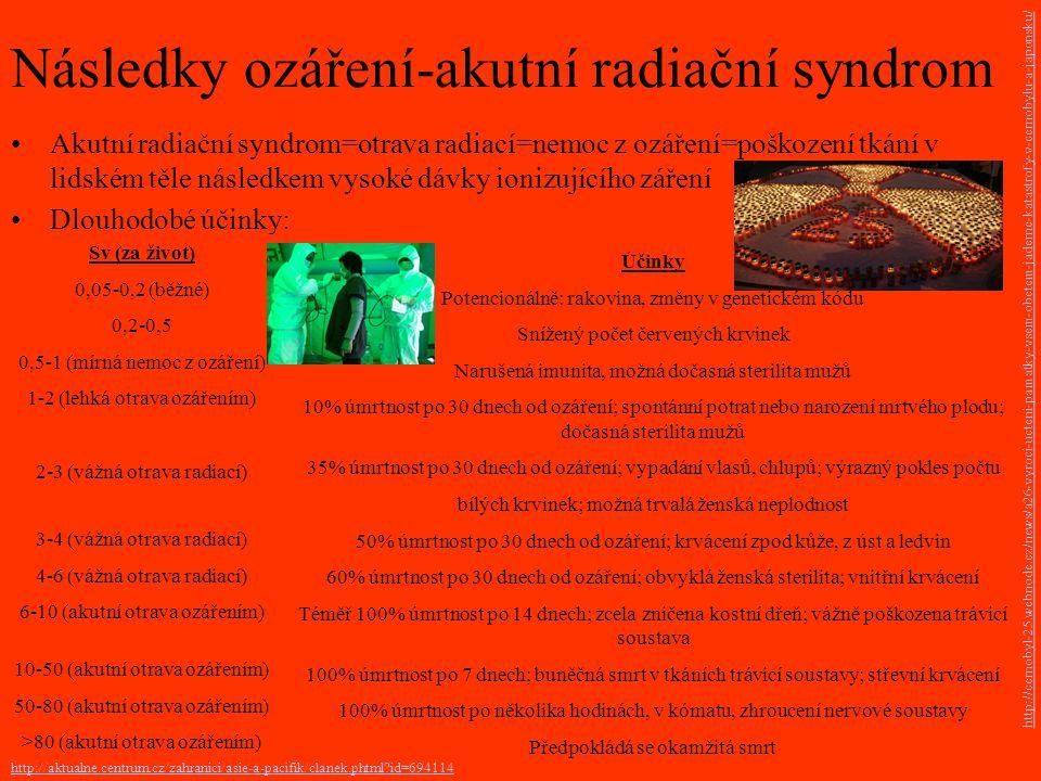 Účinky Potencionálně: rakovina, změny v genetickém kódu Snížený počet červených krvinek Narušená imunita, možná dočasná sterilita mužů 10% úmrtnost po