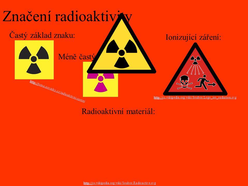 Značení radioaktivity Radioaktivní materiál: http:// cs.wikipedia.org/wiki/Soubor:Radioactive.svg Ionizující záření: http:// cs.wikipedia.org/wiki/Sou