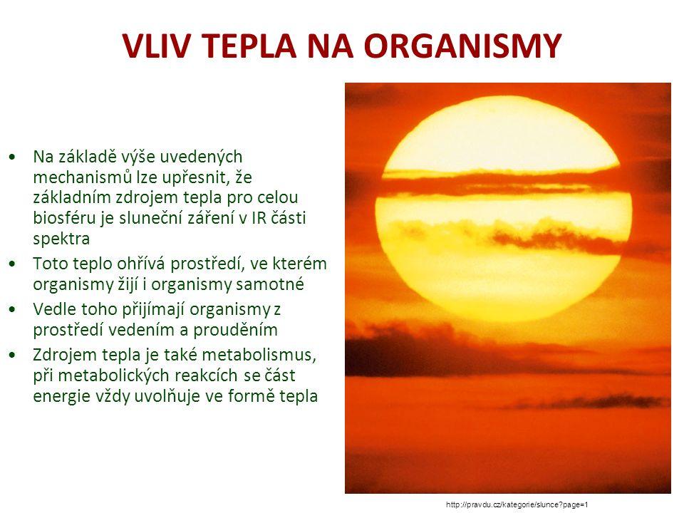 VLIV TEPLA NA ORGANISMY Na základě výše uvedených mechanismů lze upřesnit, že základním zdrojem tepla pro celou biosféru je sluneční záření v IR části spektra Toto teplo ohřívá prostředí, ve kterém organismy žijí i organismy samotné Vedle toho přijímají organismy z prostředí vedením a prouděním Zdrojem tepla je také metabolismus, při metabolických reakcích se část energie vždy uvolňuje ve formě tepla http://pravdu.cz/kategorie/slunce page=1