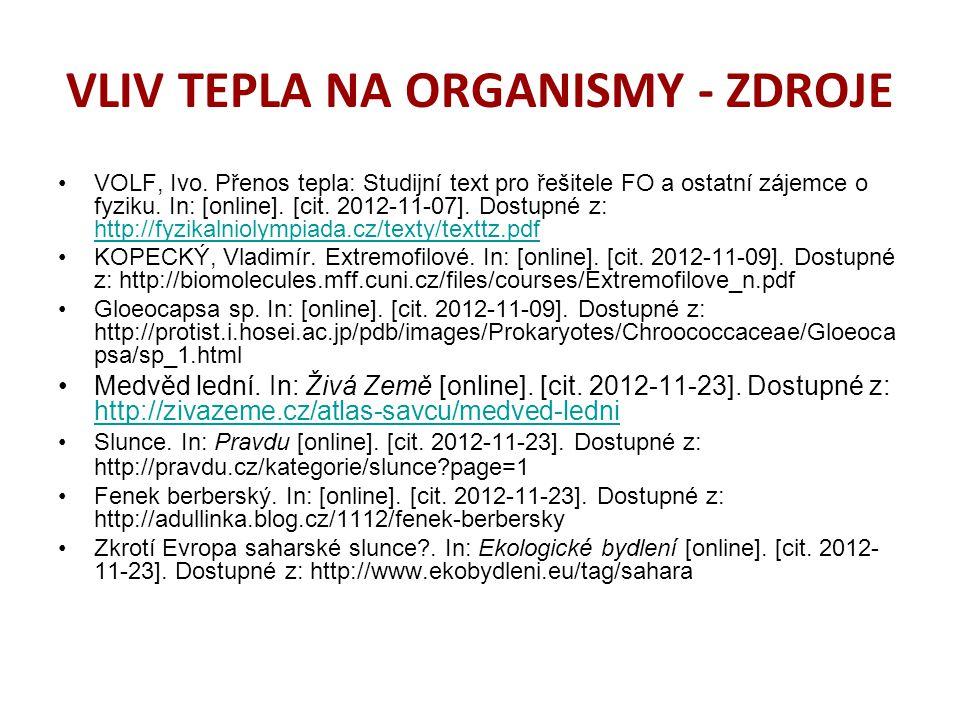 VLIV TEPLA NA ORGANISMY - ZDROJE VOLF, Ivo.
