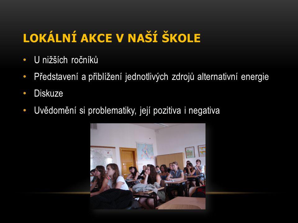 LOKÁLNÍ AKCE V NAŠÍ ŠKOLE U nižších ročníků Představení a přiblížení jednotlivých zdrojů alternativní energie Diskuze Uvědomění si problematiky, její