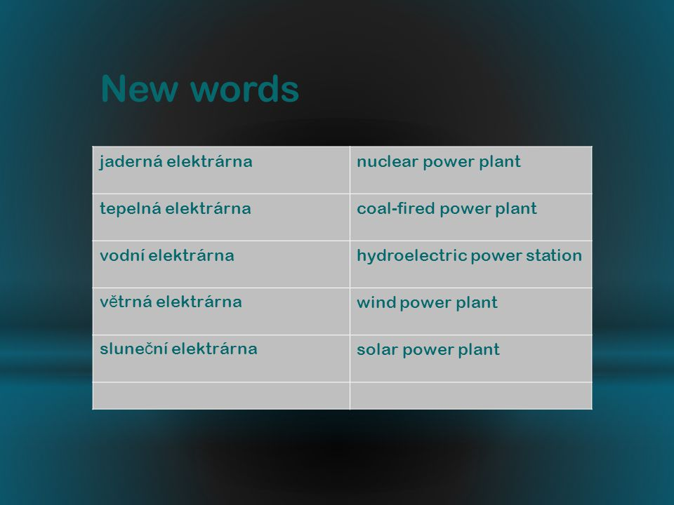 jaderná elektrárnanuclear power plant tepelná elektrárnacoal-fired power plant vodní elektrárnahydroelectric power station v ě trná elektrárnawind power plant slune č ní elektrárnasolar power plant New words