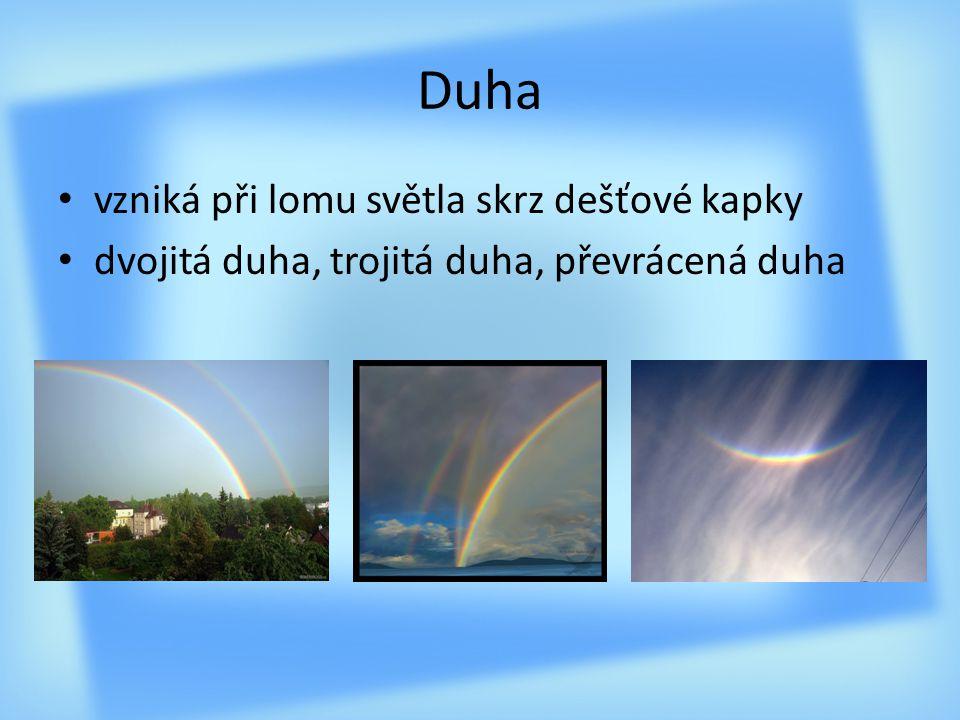 Duha vzniká při lomu světla skrz dešťové kapky dvojitá duha, trojitá duha, převrácená duha