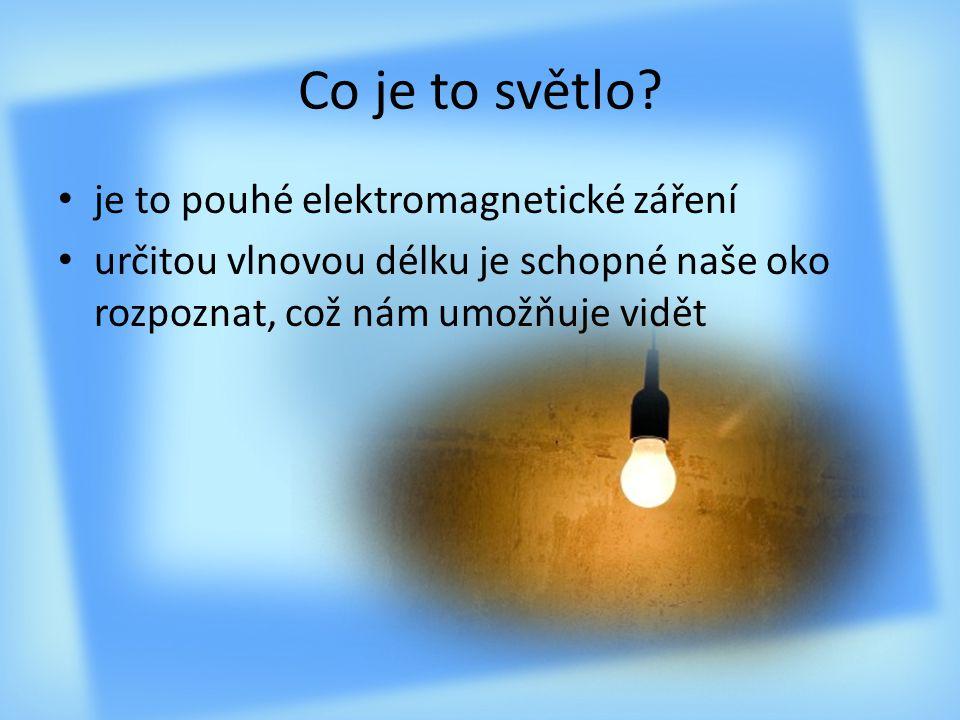 Co je to světlo? je to pouhé elektromagnetické záření určitou vlnovou délku je schopné naše oko rozpoznat, což nám umožňuje vidět