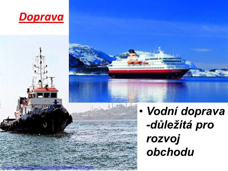 http://www.evropa2045.cz/hra/napoveda.php?kategorie=8&tema=156 Doprava Vodní doprava -důležitá pro rozvoj obchodu