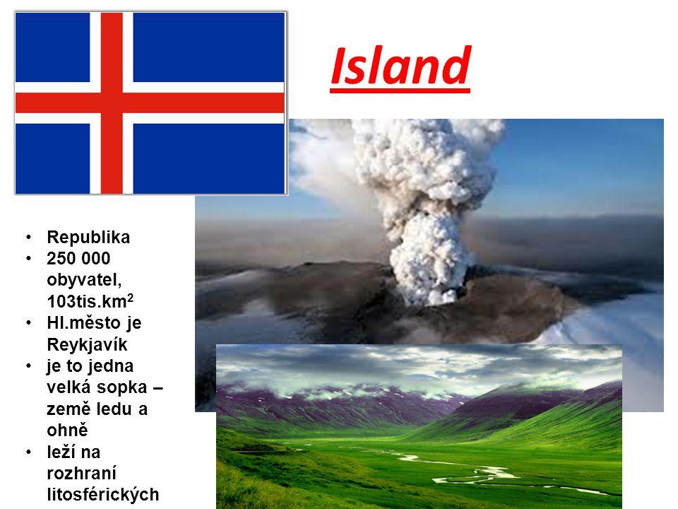 Island Republika 250 000 obyvatel, 103tis.km 2 Hl.město je Reykjavík je to jedna velká sopka – země ledu a ohně leží na rozhraní litosférických desek