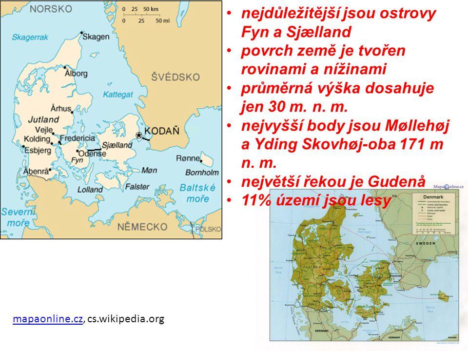 mapaonline.czmapaonline.cz, cs.wikipedia.org nejdůležitější jsou ostrovy Fyn a Sjælland povrch země je tvořen rovinami a nížinami průměrná výška dosah