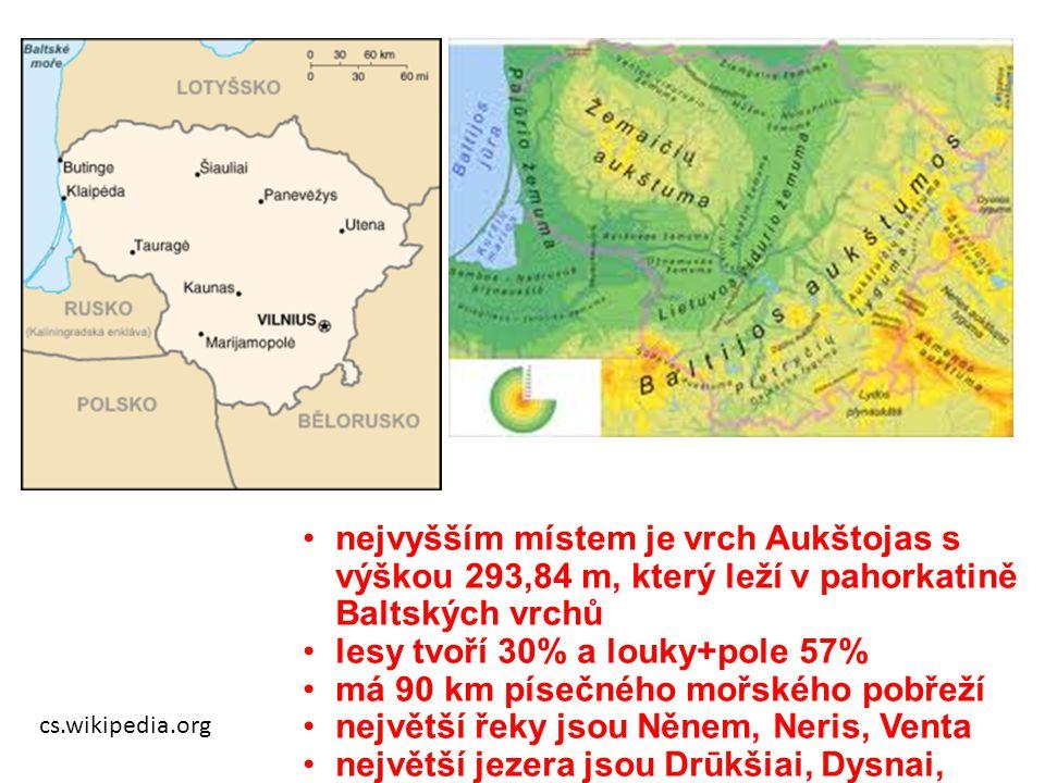 cs.wikipedia.org nejvyšším místem je vrch Aukštojas s výškou 293,84 m, který leží v pahorkatině Baltských vrchů lesy tvoří 30% a louky+pole 57% má 90
