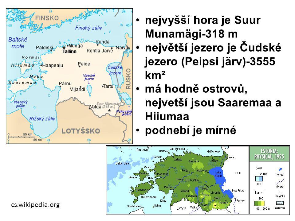 cs.wikipedia.org nejvyšší hora je Suur Munamägi-318 m největší jezero je Čudské jezero (Peipsi järv)-3555 km² má hodně ostrovů, nejvetší jsou Saaremaa