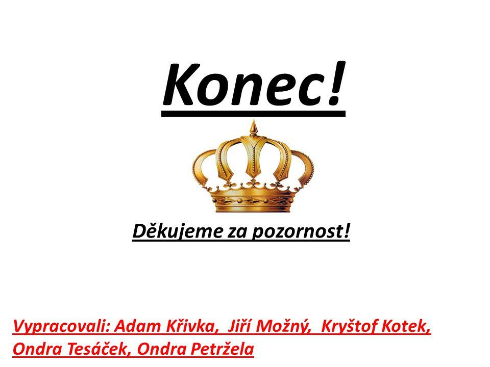 Konec! Vypracovali: Adam Křivka, Jiří Možný, Kryštof Kotek, Ondra Tesáček, Ondra Petržela Děkujeme za pozornost!