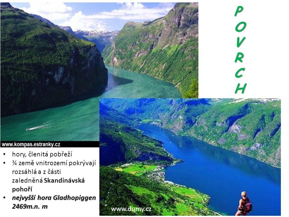 POVRCH POVRCH POVRCH POVRCH www.dumy.cz hory, členitá pobřeží ¾ země vnitrozemí pokrývají rozsáhlá a z části zaledněná Skandinávská pohoří nejvyšší ho