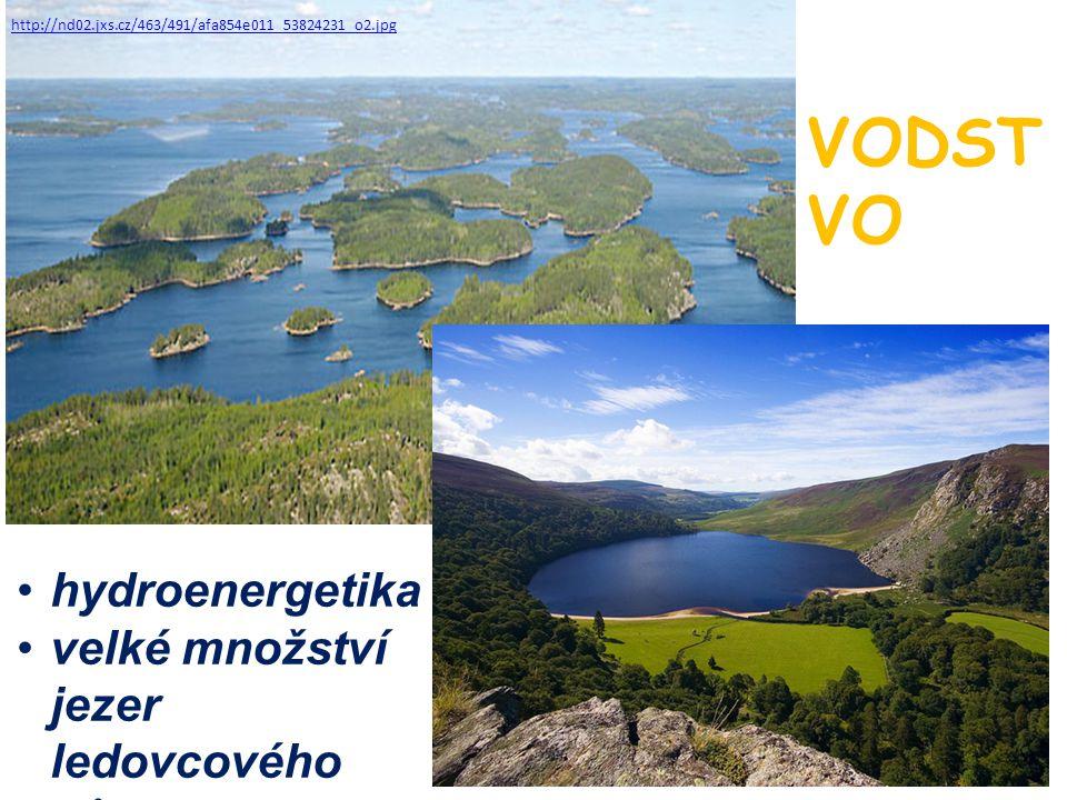 http://nd02.jxs.cz/463/491/afa854e011_53824231_o2.jpg VODST VO hydroenergetika velké množství jezer ledovcového původu