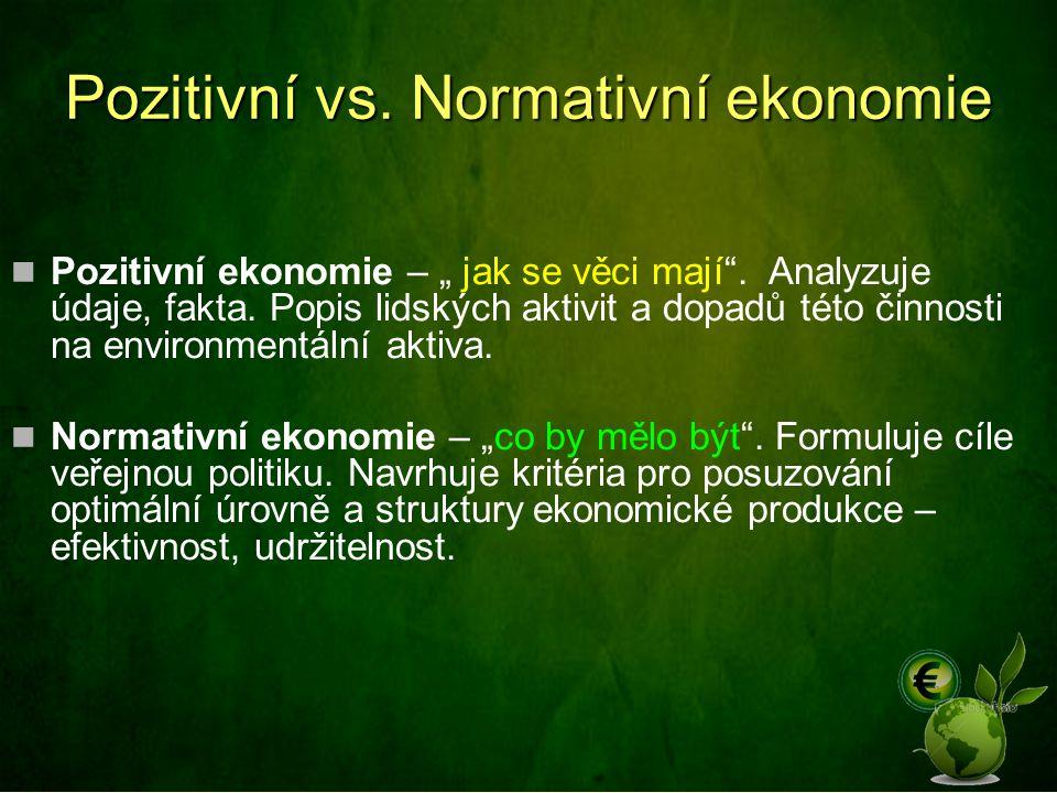 """Pozitivní vs.Normativní ekonomie Pozitivní ekonomie – """" jak se věci mají ."""