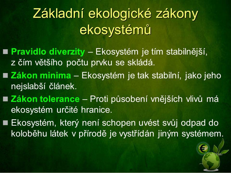 Základní ekologické zákony ekosystémů Pravidlo diverzity – Ekosystém je tím stabilnější, z čím většího počtu prvku se skládá.