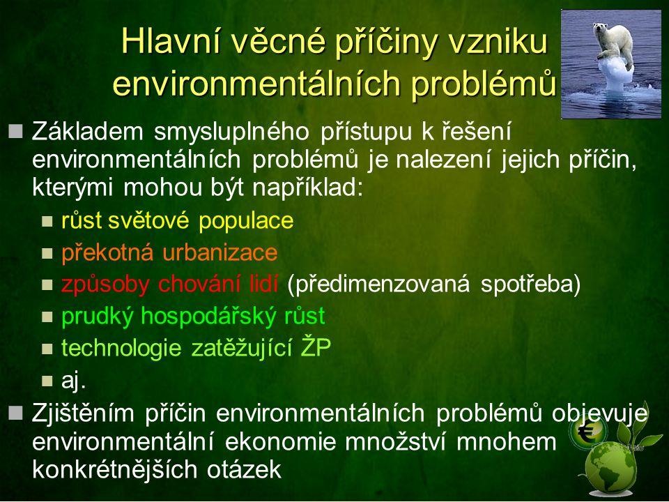 Hlavní věcné příčiny vzniku environmentálních problémů Základem smysluplného přístupu k řešení environmentálních problémů je nalezení jejich příčin, kterými mohou být například: růst světové populace překotná urbanizace způsoby chování lidí (předimenzovaná spotřeba) prudký hospodářský růst technologie zatěžující ŽP aj.