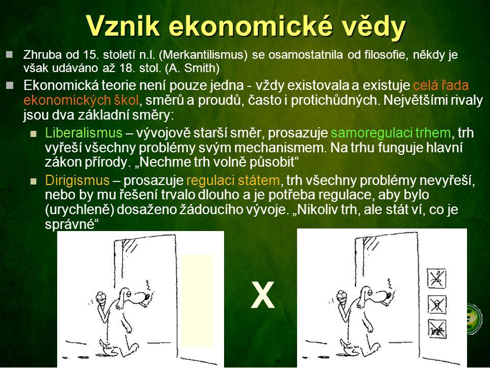 Vznik ekonomické vědy Zhruba od 15. století n.l. (Merkantilismus) se osamostatnila od filosofie, někdy je však udáváno až 18. stol. (A. Smith) Ekonomi