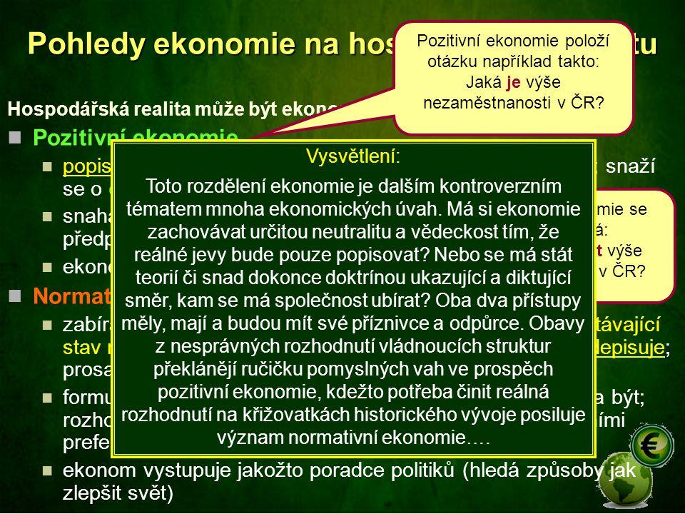 Pohledy ekonomie na hospodářskou realitu Hospodářská realita může být ekonomií nazírána z různých pohledů: Pozitivní ekonomie popisuje realitu takovou