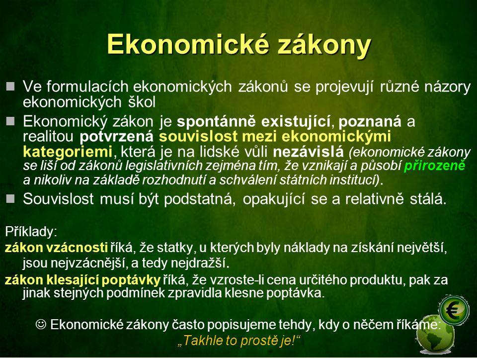 Ekonomické zákony Ve formulacích ekonomických zákonů se projevují různé názory ekonomických škol Ekonomický zákon je spontánně existující, poznaná a r