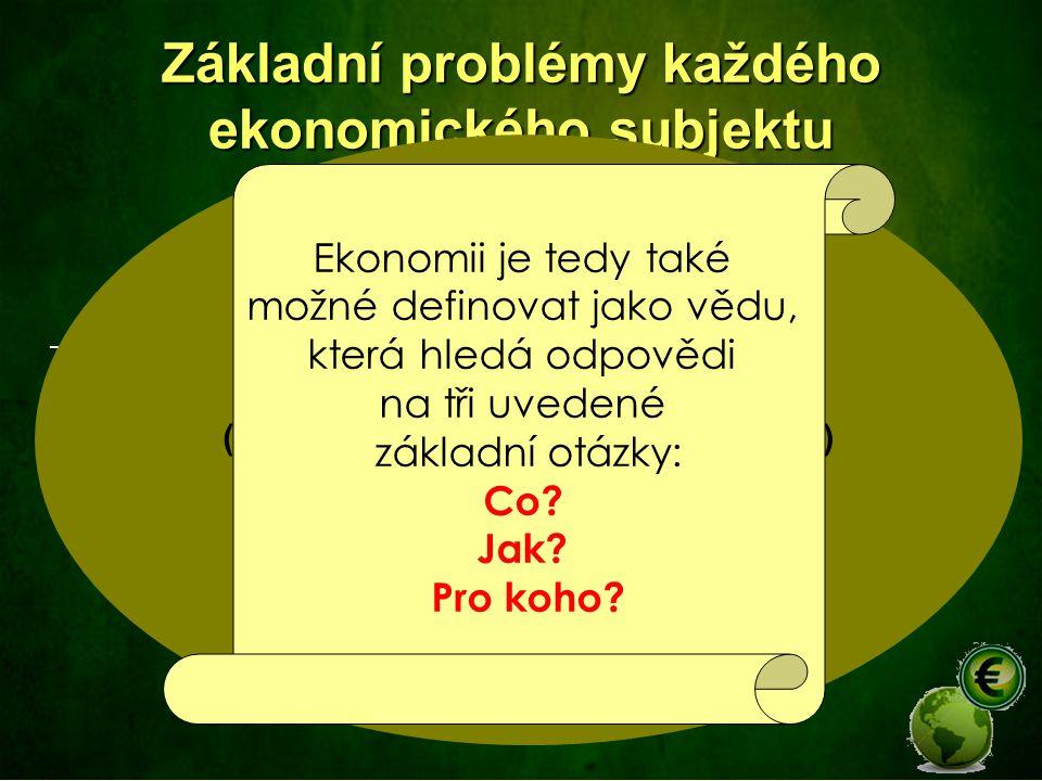 Základní problémy každého ekonomického subjektu Co (vyrábět)? – jaké výrobky, v jakém množství a v jaké proporci Jak (vyrábět)? – jaké zdroje a v jaké