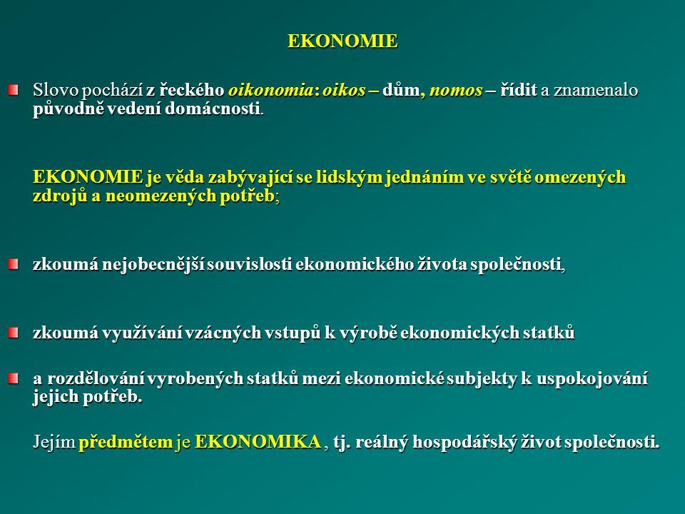 EKONOMIE Slovo pochází z řeckého oikonomia: oikos – dům, nomos – řídit a znamenalo původně vedení domácnosti. EKONOMIE je věda zabývající se lidským j