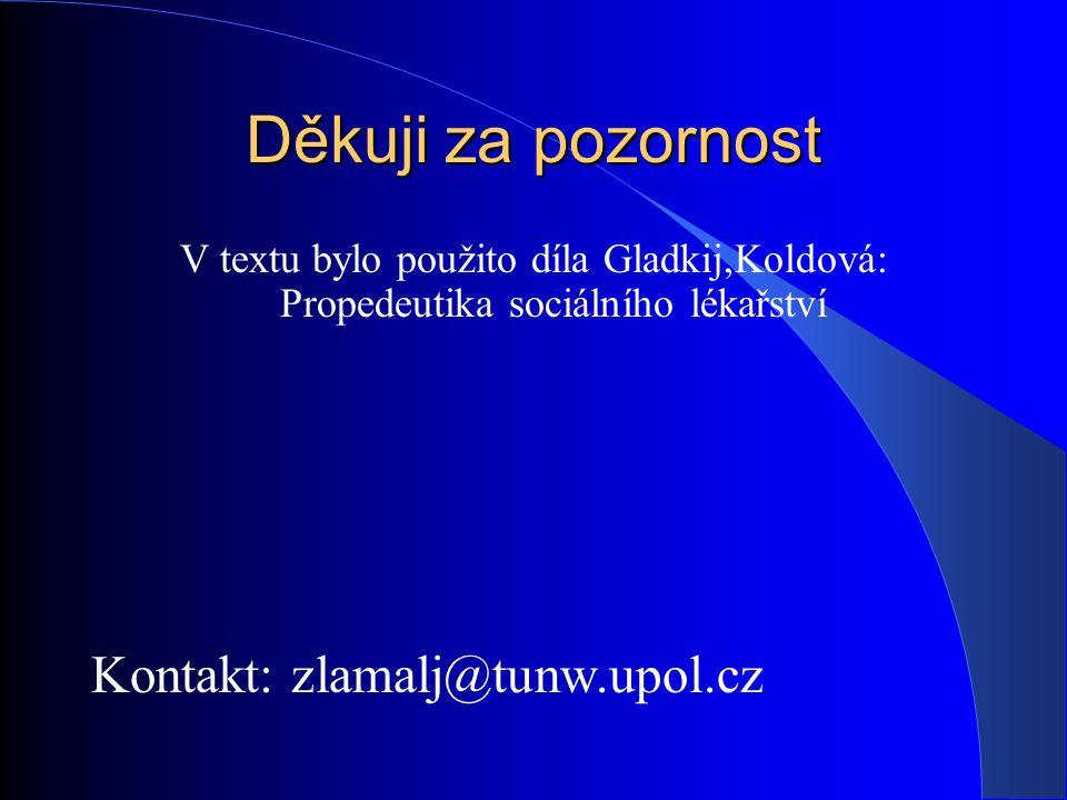 Děkuji za pozornost V textu bylo použito díla Gladkij,Koldová: Propedeutika sociálního lékařství Kontakt: zlamalj@tunw.upol.cz