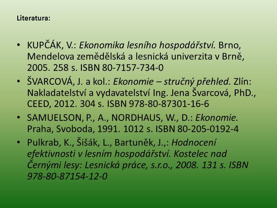 Literatura: KUPČÁK, V.: Ekonomika lesního hospodářství. Brno, Mendelova zemědělská a lesnická univerzita v Brně, 2005. 258 s. ISBN 80-7157-734-0 ŠVARC