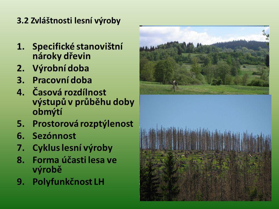3.2 Zvláštnosti lesní výroby 1.Specifické stanovištní nároky dřevin 2.Výrobní doba 3.Pracovní doba 4.Časová rozdílnost výstupů v průběhu doby obmýtí 5