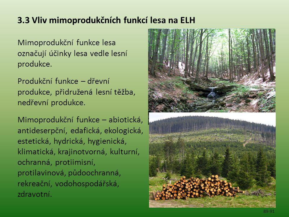 3.3 Vliv mimoprodukčních funkcí lesa na ELH Mimoprodukční funkce lesa označují účinky lesa vedle lesní produkce. Produkční funkce – dřevní produkce, p