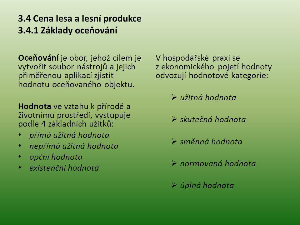 """3.4.1 Základy oceňování V oceňovací praxi se vyskytují: cena administrativní cena pořizovací cena reprodukční časová cena výnosová hodnota obvyklá cena Oceňování lesa se stává nezbytným při: změně vlastnictví zjištění škod – zvěří, požárem, krádež majetkových výpočtech – zjištění výnosovosti majetku ocenění """"doprovodných účinků lesa"""