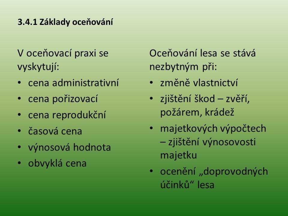 3.4.2 Metody oceňování lesů Metody hodnocení lesa (podle Šišáka): Ekonomické - peněžní a) na základě vstupů b) na základě výstupů -nepeněžní Mimoekonomické Peněžní Nepeněžní Metoda výnosová (čistého důchodu) V č = V h – N v VV č – výnos čistý VV h – výnos hrubý NN v – náklady výrobní
