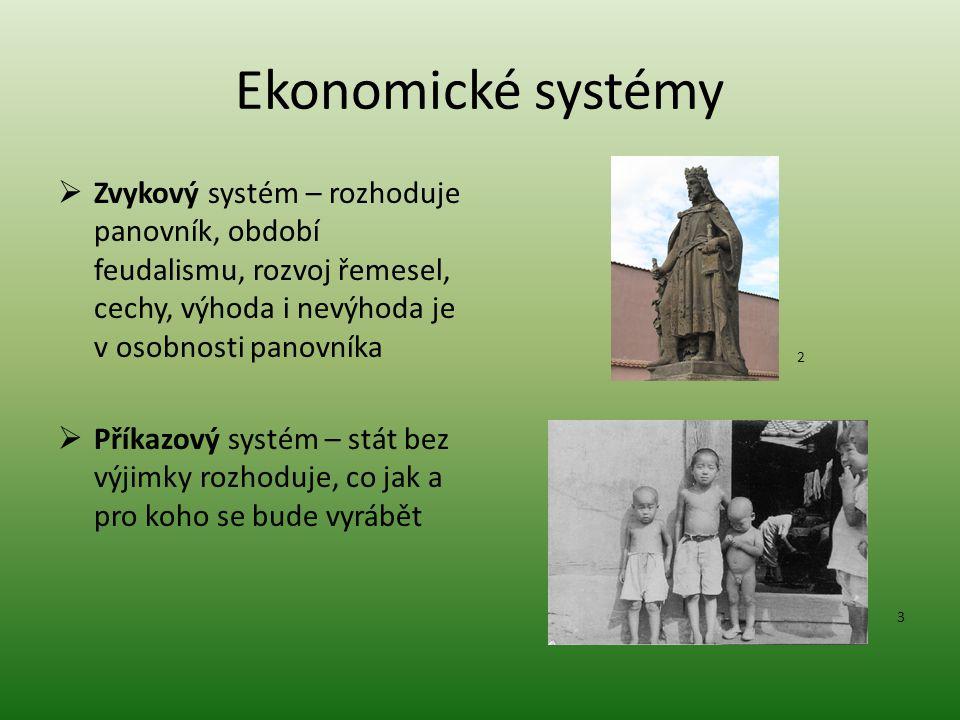 """Ekonomické systémy  Tržní systém – o základních ekonomických otázkách rozhoduje trh a jeho zákony  Smíšený systém – stát si """"hlídá věci, které mohou narušit vztah rodina x firma 4 5"""
