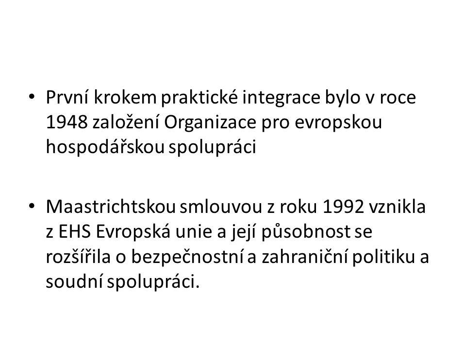 První krokem praktické integrace bylo v roce 1948 založení Organizace pro evropskou hospodářskou spolupráci Maastrichtskou smlouvou z roku 1992 vznikl