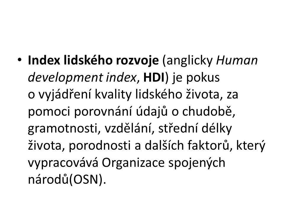 Index lidského rozvoje (anglicky Human development index, HDI) je pokus o vyjádření kvality lidského života, za pomoci porovnání údajů o chudobě, gram