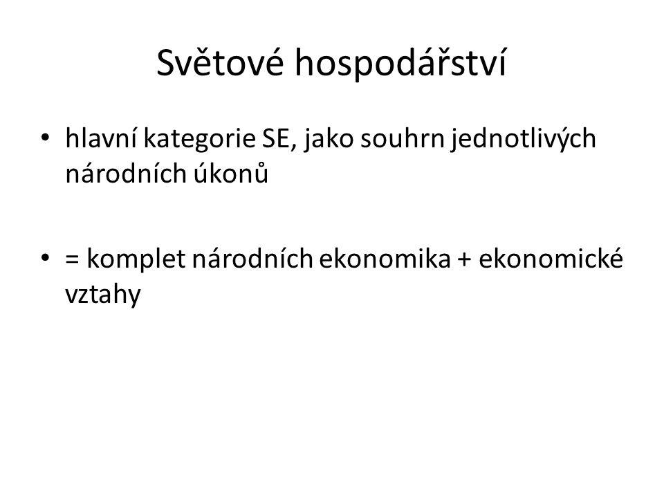 Světové hospodářství hlavní kategorie SE, jako souhrn jednotlivých národních úkonů = komplet národních ekonomika + ekonomické vztahy