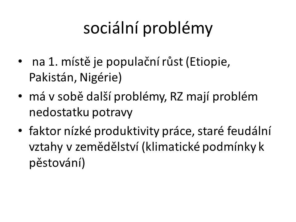 sociální problémy na 1. místě je populační růst (Etiopie, Pakistán, Nigérie) má v sobě další problémy, RZ mají problém nedostatku potravy faktor nízké