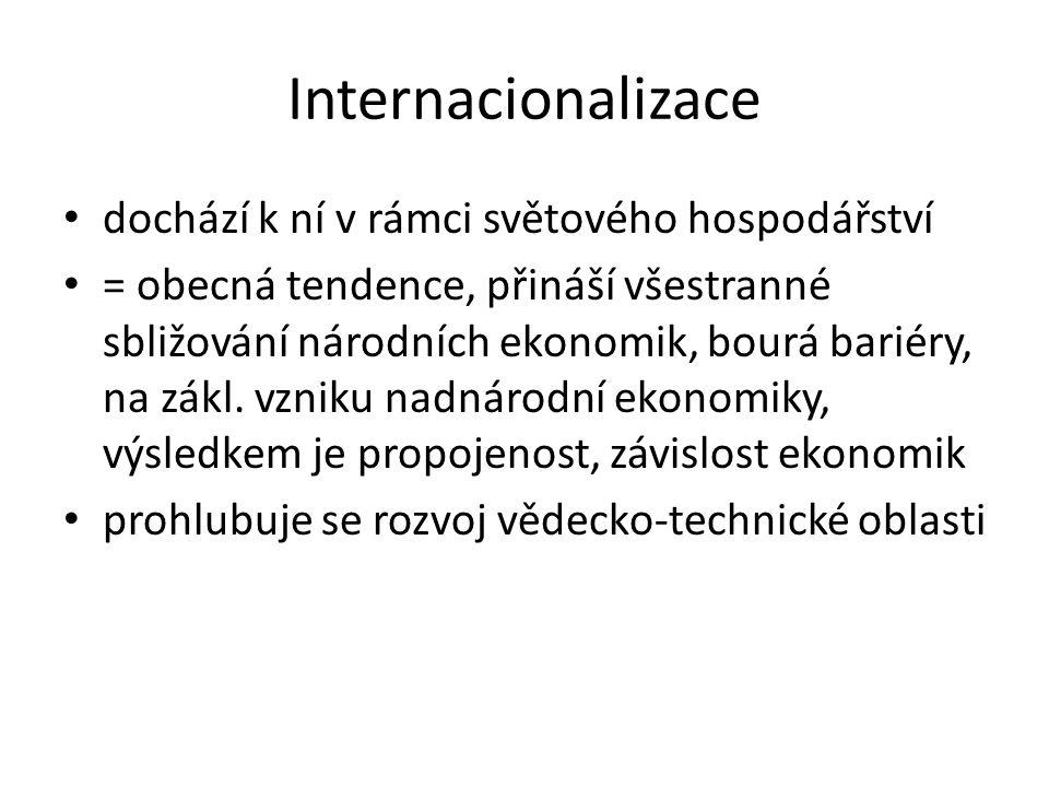 Internacionalizace dochází k ní v rámci světového hospodářství = obecná tendence, přináší všestranné sbližování národních ekonomik, bourá bariéry, na