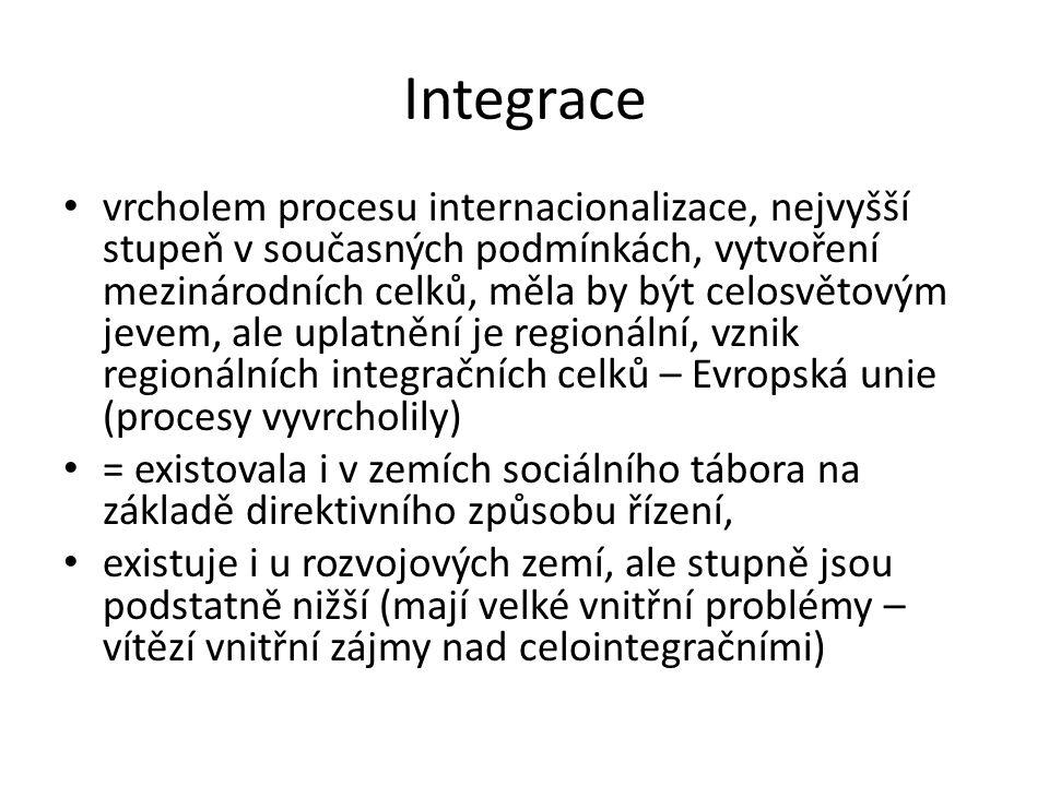 Integrace vrcholem procesu internacionalizace, nejvyšší stupeň v současných podmínkách, vytvoření mezinárodních celků, měla by být celosvětovým jevem,