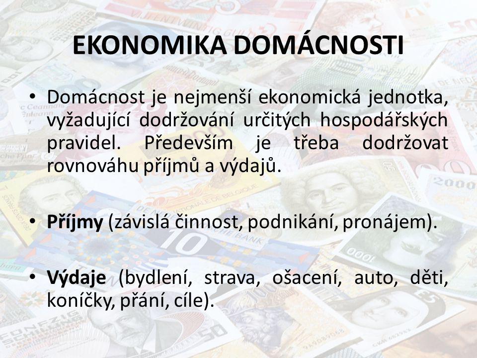 EKONOMIKA DOMÁCNOSTI Domácnost je nejmenší ekonomická jednotka, vyžadující dodržování určitých hospodářských pravidel. Především je třeba dodržovat ro