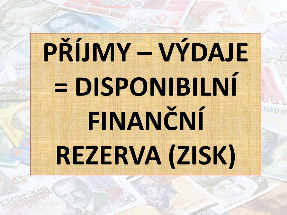PŘÍJMY – VÝDAJE = DISPONIBILNÍ FINANČNÍ REZERVA (ZISK)