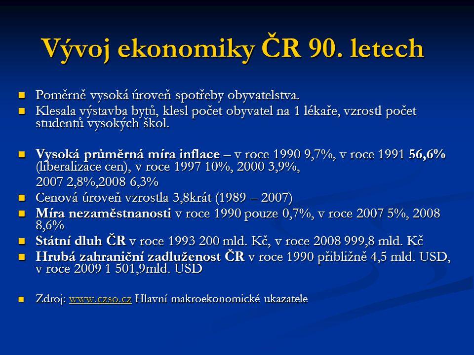 Vývoj ekonomiky ČR 90. letech Poměrně vysoká úroveň spotřeby obyvatelstva. Poměrně vysoká úroveň spotřeby obyvatelstva. Klesala výstavba bytů, klesl p