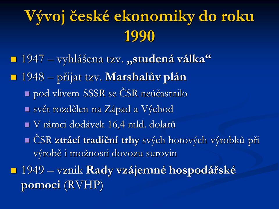 """Vývoj české ekonomiky do roku 1990 1947 – vyhlášena tzv. """"studená válka"""" 1947 – vyhlášena tzv. """"studená válka"""" 1948 – přijat tzv. Marshalův plán 1948"""