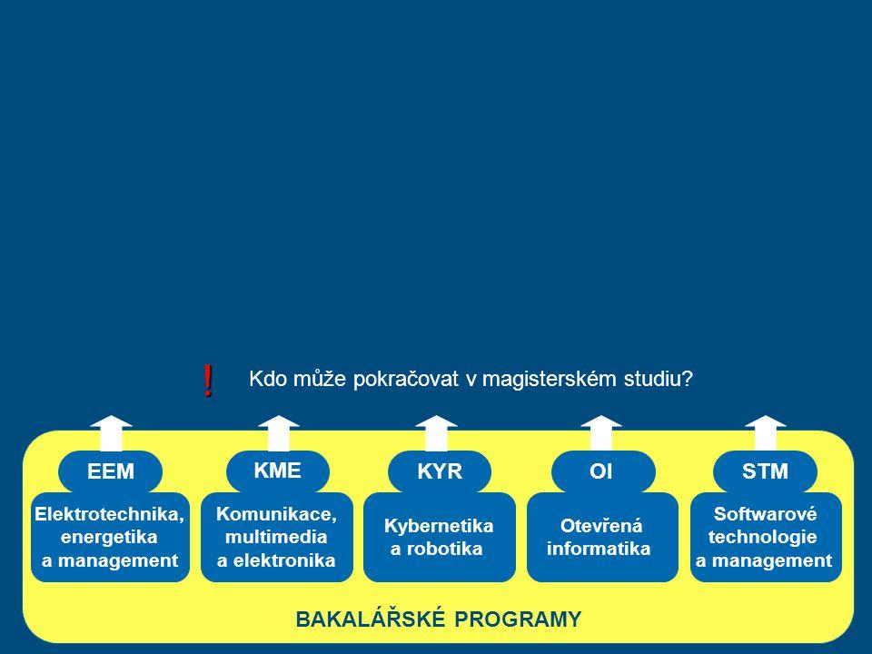 Elektrotechnika, energetika a management Komunikace, multimedia a elektronika Kybernetika a robotika BAKALÁŘSKÉ PROGRAMY EEM KME KYR Otevřená informat