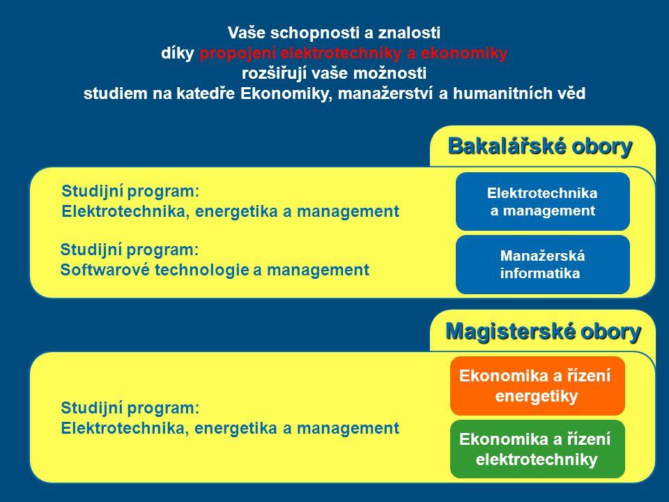 Magisterské obory Bakalářské obory Elektrotechnika a management Manažerská informatika Ekonomika a řízení energetiky Ekonomika a řízení elektrotechnik