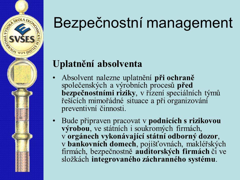 Bezpečnostní management týdnů za semestr14 12 pořadí semestru123456 A.